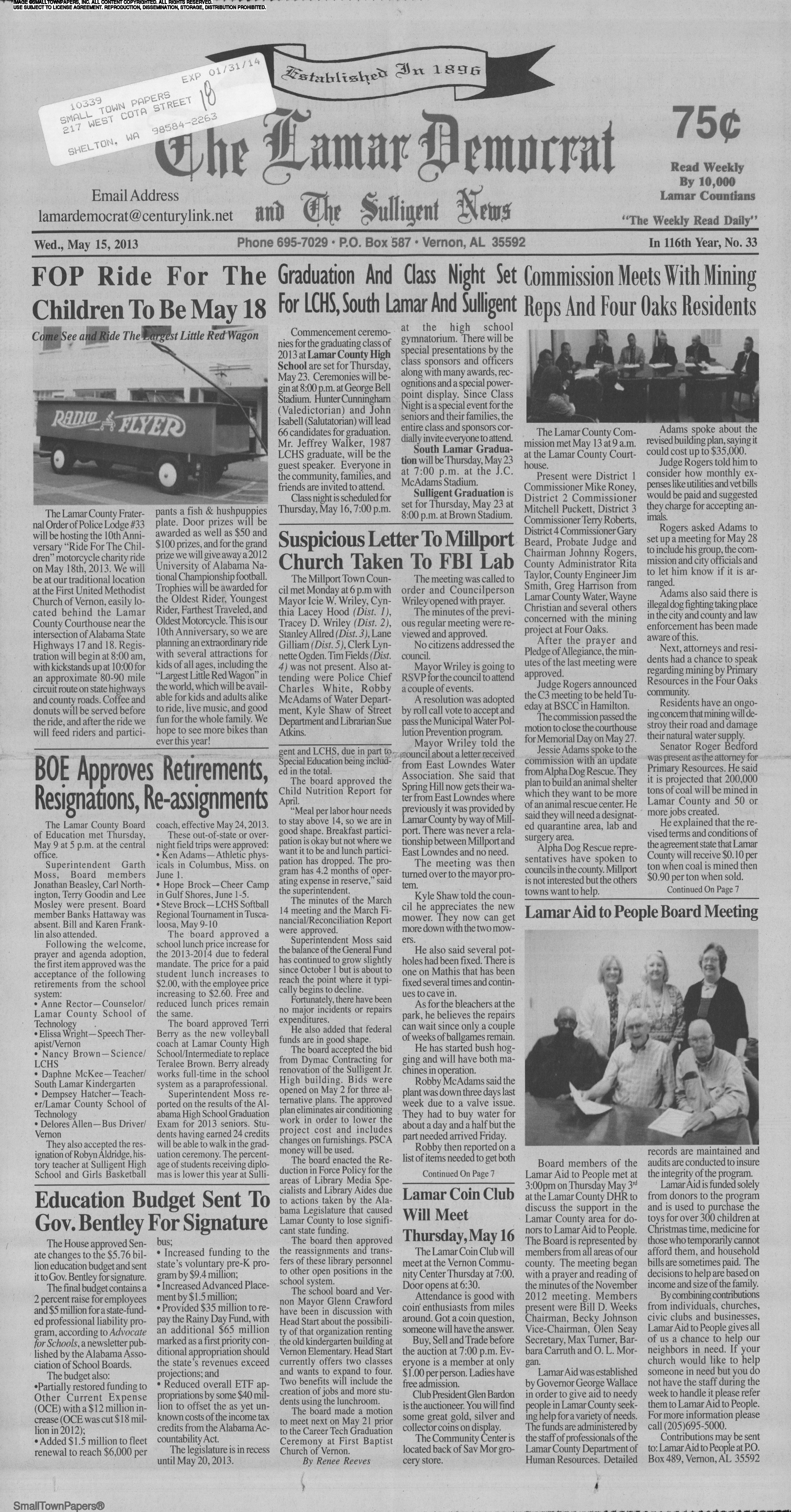 The Lamar Democrat and Sulligent News May 15, 2013: Page 1