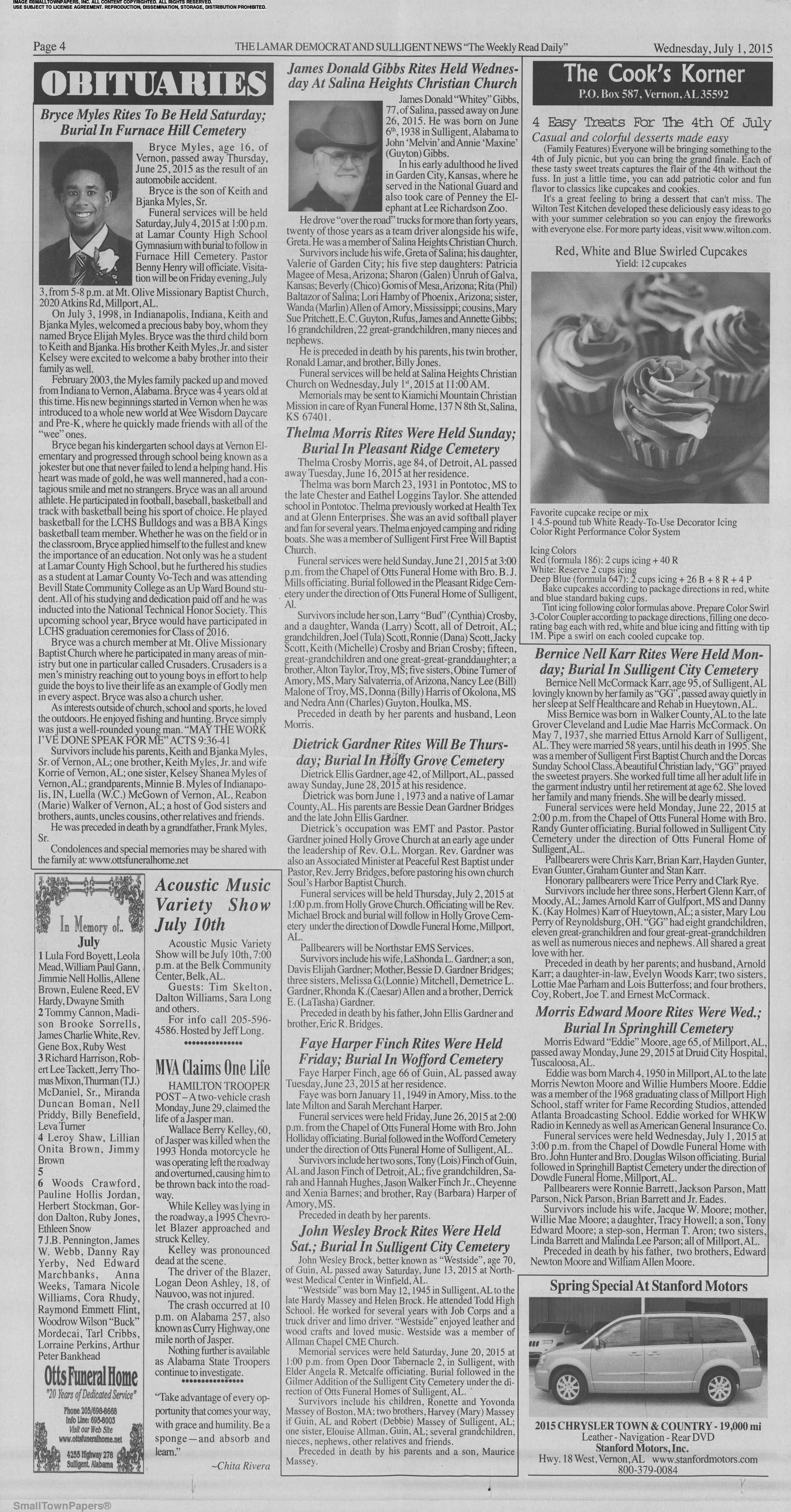 The Lamar Democrat and Sulligent News July 1, 2015: Page 4