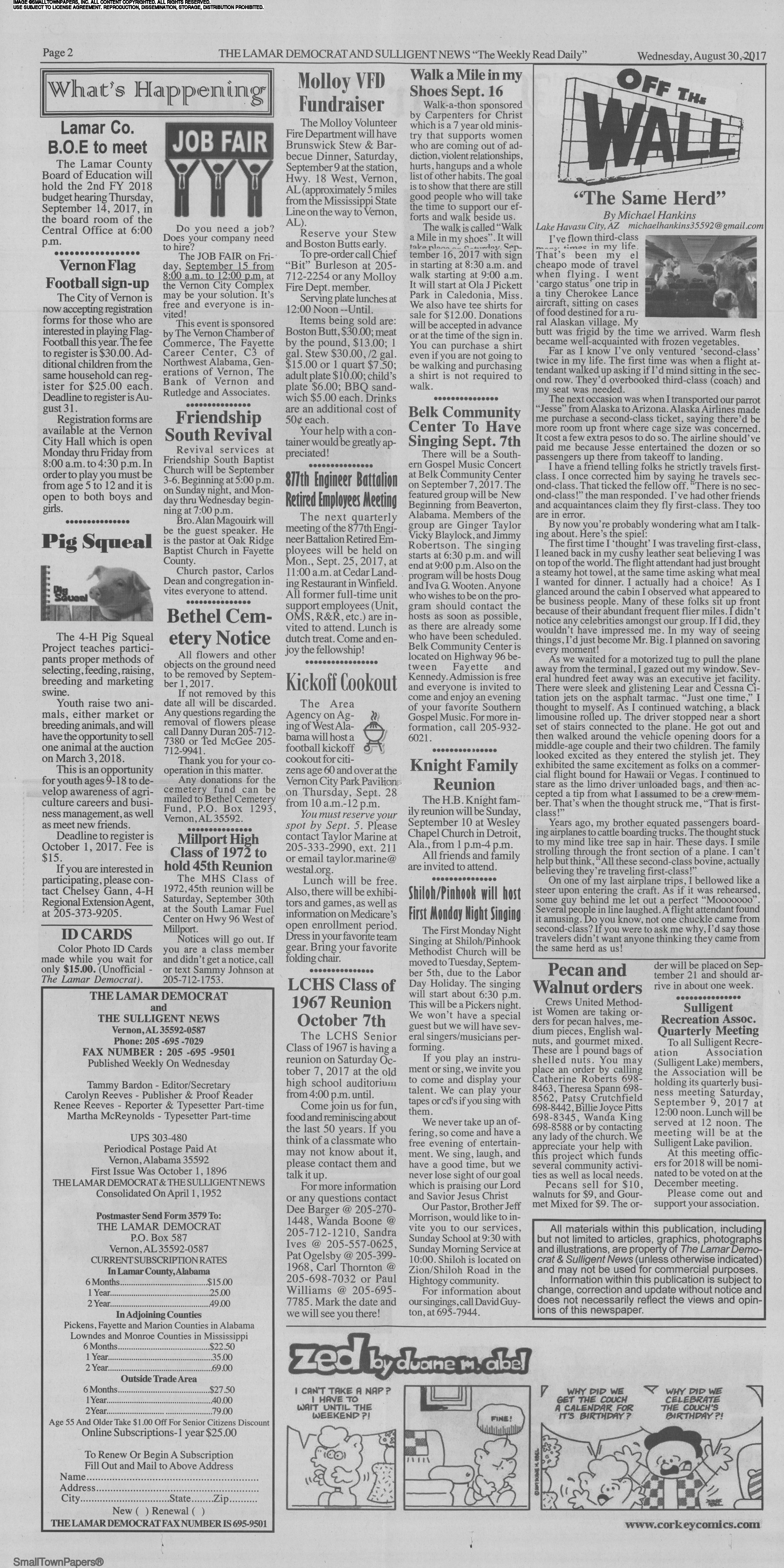 The Lamar Democrat and Sulligent News August 30, 2017: Page 2